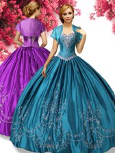 Perfect Teal Sweetheart Lace Up Beading and Embroidery Quinceanera Dresses Sleeveless