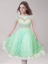 Apple Green A-line Lace Scoop Sleeveless Beading Knee Length Backless
