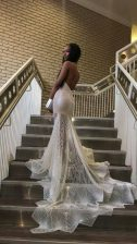 High Quality Halter Top Lace Mermaid Sleeveless Silver Prom Evening Gown Court Train Backless