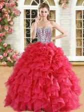 Red Ball Gowns Beading and Ruffles Sweet 16 Dress Lace Up Organza Sleeveless Floor Length