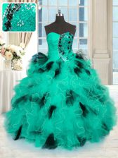 Turquoise Sweetheart Neckline Beading and Ruffles Vestidos de Quinceanera Sleeveless Lace Up