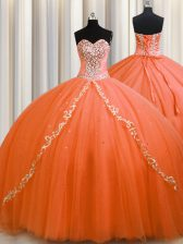 Orange Quinceanera Dresses Military Ball and Sweet 16 and Quinceanera with Beading Sweetheart Sleeveless Brush Train Lace Up
