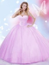 Sleeveless Tulle Floor Length Lace Up Sweet 16 Dress in Lilac with Beading