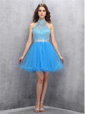 Dramatic Blue High-neck Zipper Beading Dress for Prom Sleeveless