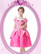 Modern Short Sleeves Knee Length Beading and Hand Made Flower Clasp Handle Flower Girl Dress with Hot Pink