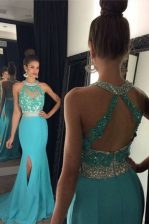 Classical Halter Top Aqua Blue Sleeveless With Train Beading and Appliques Zipper Prom Dresses