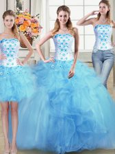 Three Piece Sleeveless Floor Length Beading and Appliques and Ruffles Lace Up Quinceanera Dress with Baby Blue