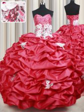Best Beading and Appliques and Sequins and Pick Ups Quinceanera Dresses Coral Red Lace Up Sleeveless With Brush Train