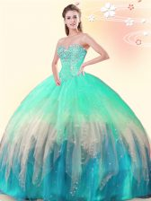 Wonderful Multi-color Lace Up Quinceanera Gowns Beading Sleeveless Floor Length