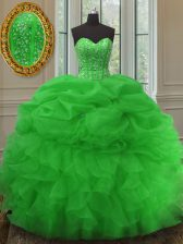 Green Sleeveless Beading and Ruffles and Pick Ups Floor Length Quinceanera Dress