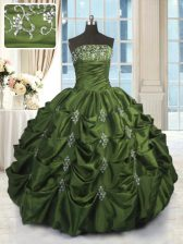 Green Strapless Lace Up Beading and Pick Ups Ball Gown Prom Dress Sleeveless