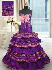 Purple Lace Up 15 Quinceanera Dress Appliques and Ruffled Layers and Bowknot Sleeveless Brush Train