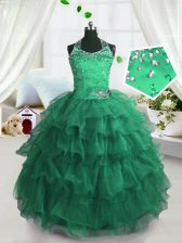 Exquisite Scoop Peacock Green Sleeveless Floor Length Beading and Ruffled Layers Lace Up Little Girls Pageant Gowns