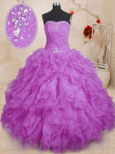 Charming Purple Lace Up Vestidos de Quinceanera Beading and Ruffles and Ruching Sleeveless Floor Length