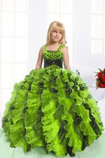 Wonderful Yellow Green Ball Gowns Straps Sleeveless Organza Floor Length Lace Up Beading and Ruffles Pageant Gowns For Girls