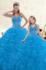 Amazing Beading and Ruffles 15th Birthday Dress Blue Lace Up Sleeveless Floor Length