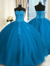 Tulle Sleeveless Floor Length Quinceanera Dresses and Appliques and Embroidery