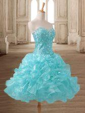Dynamic Mini Length Aqua Blue Prom Evening Gown Organza Sleeveless Beading and Ruffles