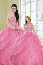 Custom Fit Floor Length Rose Pink Quinceanera Dresses Organza Sleeveless Beading and Sequins