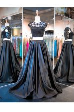 Scoop Black Sleeveless Taffeta Brush Train Clasp Handle for Prom and Party