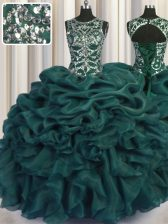 Scoop See Through Sleeveless Organza Floor Length Lace Up Sweet 16 Dresses in Teal with Beading and Sequins and Pick Ups