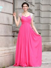 Hot Pink Cap Sleeves Silk Like Satin Zipper Prom Party Dress for Prom and Party