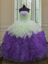 Floor Length White And Purple Quinceanera Gown Strapless Sleeveless Lace Up
