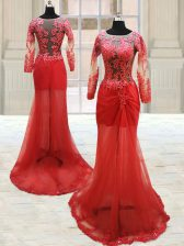 Lovely Scoop Red Long Sleeves Appliques With Train Prom Gown