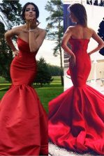 Unique Mermaid Pleated Red Sleeveless Elastic Woven Satin Sweep Train Zipper Prom Evening Gown for Prom and Party