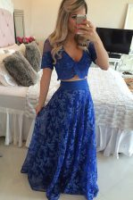 Royal Blue V-neck Zipper Lace and Appliques Prom Gown Sweep Train Short Sleeves