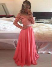 Watermelon Red Dress for Prom Prom with Beading and Appliques Scoop Long Sleeves Zipper