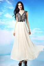 Comfortable White And Black Cap Sleeves Appliques and Bowknot Ankle Length Prom Evening Gown