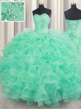 Fantastic Sleeveless Floor Length Beading and Ruffles Lace Up Sweet 16 Dresses with Apple Green