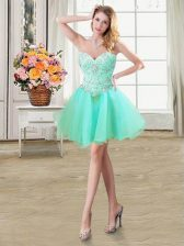 Comfortable Mini Length A-line Sleeveless Apple Green Prom Dress Lace Up