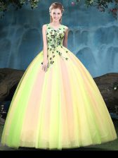 Multi-color Sleeveless Appliques Floor Length Sweet 16 Quinceanera Dress