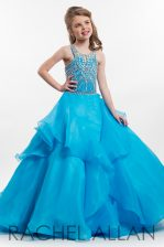 Low Price Aqua Blue A-line Organza Scoop Sleeveless Beading and Ruffles Floor Length Zipper Pageant Gowns For Girls