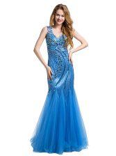 Fashionable Mermaid Floor Length Baby Blue Evening Dress V-neck Sleeveless Zipper