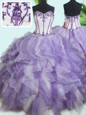 Sleeveless Organza Floor Length Lace Up Sweet 16 Quinceanera Dress in White And Purple with Beading and Ruffles