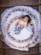 Custom Designed White Sleeveless Beading and Lace and Embroidery Floor Length Quinceanera Dresses