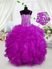 Affordable Hot Pink Sleeveless Organza Lace Up Little Girls Pageant Dress for Party and Wedding Party