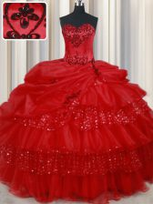 Discount Red Lace Up Sweetheart Embroidery and Ruffled Layers and Sequins and Pick Ups Quinceanera Dresses Organza Sleeveless