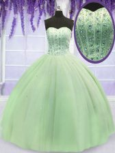 Sweetheart Sleeveless Lace Up Quinceanera Gown Yellow Green Tulle