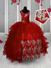 Fancy Red Sleeveless Floor Length Appliques and Ruffled Layers Lace Up Pageant Gowns For Girls