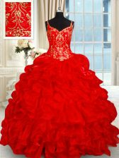 Artistic Red Organza Lace Up Quinceanera Dresses Sleeveless Brush Train Beading and Ruffles and Pick Ups