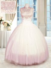 Simple Baby Pink High-neck Zipper Beading Quinceanera Dresses Sleeveless