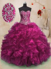 With Train Fuchsia Sweet 16 Dress Sweetheart Sleeveless Sweep Train Lace Up
