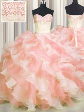 Visible Boning Two Tone Multi-color Lace Up 15 Quinceanera Dress Beading and Ruffles Sleeveless Floor Length
