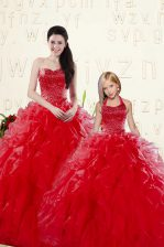 Customized Sleeveless Floor Length Beading and Ruffles Lace Up Quinceanera Dresses with Coral Red