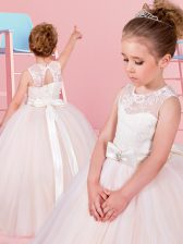 Designer Tulle Scoop Sleeveless Lace Up Lace and Bowknot Flower Girl Dresses in Champagne