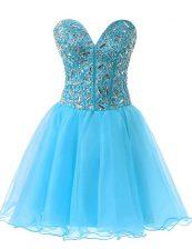 Baby Blue Sweetheart Lace Up Beading Evening Dress Sleeveless